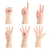 Counting man hands (0 to 5) isolated on white background — Stock Photo