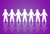 Team of paper people on violet background — Stock Photo