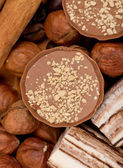 Closeup of coffee beans, cinnamon and nuts — Stock Photo