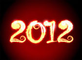 Date New Year 2012 on dark red background — Stock Photo