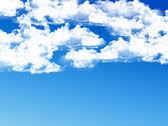 фоне голубого неба с облаками и крошечные — Стоковое фото