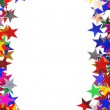 Star shaped confetti of different colors frame — Stock Photo #37537801
