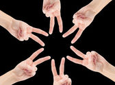 Hands of teamwork , forming the star shape — Photo