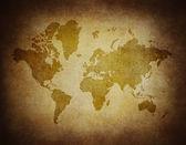 Karta världen på papper bakgrunden stil grunge — Stockfoto