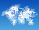 World map shaped by clouds — Stock Photo