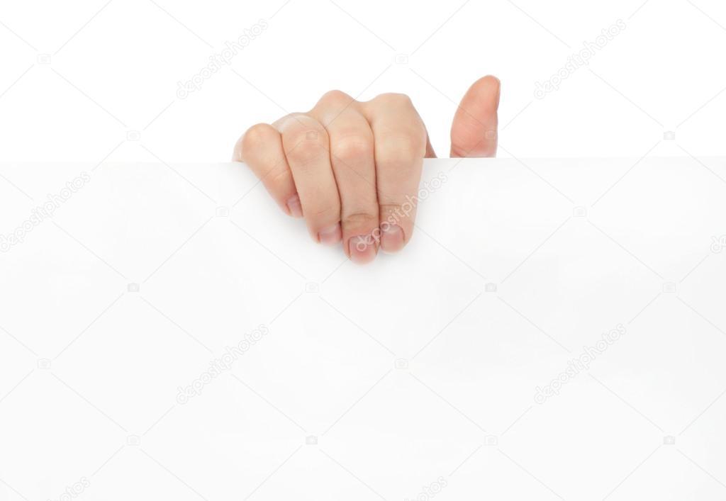 广告:手拿着白色空白纸
