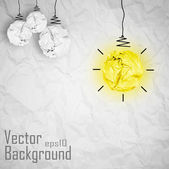 Vector light bulb made of paper. Creative Concept Background. — Stock Vector