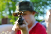 Man with airgun — Stock Photo