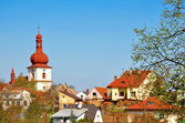 Church in the town — Stock Photo