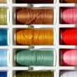 Embroidery yarn bobbins — Stock Photo