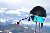 Alps and ski equipment — Stock Photo