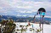 Alpes y esquí equipos — Foto de Stock