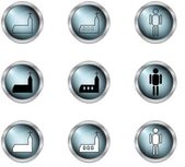 Set of icon vector in buttons — Stock Vector