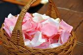 Basket of wedding blossom — Stock Photo