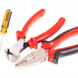 Pliers, screwdrivers and nippers on a white background — Stock Photo #37906125