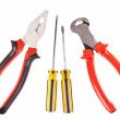 Pliers, screwdrivers and nippers on a white background — Stock Photo #37906127