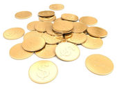 Pile of golden coin 3d on a white background — Stock Photo