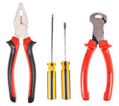 Pliers, screwdrivers and nippers on a white background — Stock Photo