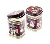 Tea boxes on a white background — Stock Photo