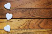 Three white hearts misaligned — Stock Photo