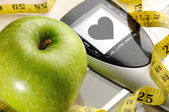 Apple and sport and heart message — Stockfoto
