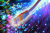 Ethernet cable with fiber optic background — Stock Photo