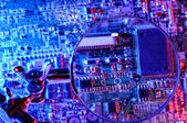 Vision microcontroller board with magnifier — Stock Photo