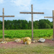 Three Wooden Christian Crosses — Stock Photo