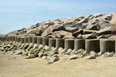 Cement Rock Barrier Seawall Sea Wall Coastal Defense — Stock Photo