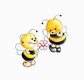 Two bees fall in love — Stock Photo