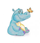 Funny hippopotamus and butterfly — Stock Photo