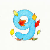 Number 9 and leaves — Stock Photo