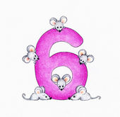 Number 6 and six mice — Stock Photo