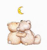 Two Teddy bears in love — Stock Photo