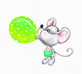 Cute mouse blowing balloon — Stok fotoğraf