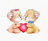 Two Teddy bears fall in love — Foto Stock