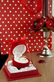 Golden ring in red jewel box. — Stock Photo