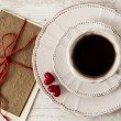 Valentine's day tea set with cup of coffee and greeting card — Stok fotoğraf