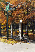 Bicycle with yellow leaves in wicker near shod fence in autumn park — Stock Photo