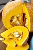Sliced ripe yellow pumpkin. Closeup. — Stock Photo