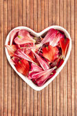 Spring floral petals love heart shape decor — Stock Photo