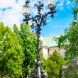 Antique steel lantern near Adam Mickiewicz Monument in Warsaw. — Stock Photo #51756201