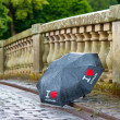 I love Scotland. Bridge with wet umbrella in a rainy weather. — Stock Photo #51756251
