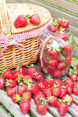 Ripe fresh strawberry crop. Summer bounty. — Stock Photo