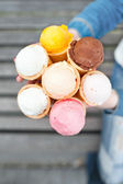 Many different color ice-cream in waffles. — Stok fotoğraf