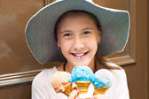 Sweet colored dream! Girl with many ice-cream. — Stok fotoğraf