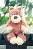Lonely sad forgotten teddy bear toy. Awaiting for owner — Stock Photo