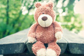 Awaiting for owner. Forgotten teddy bear toy. Sadness. — Stock Photo