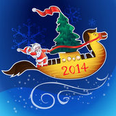 Horse-ship and santa — Stock Vector