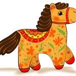 Orange horse figurine — Stock Vector